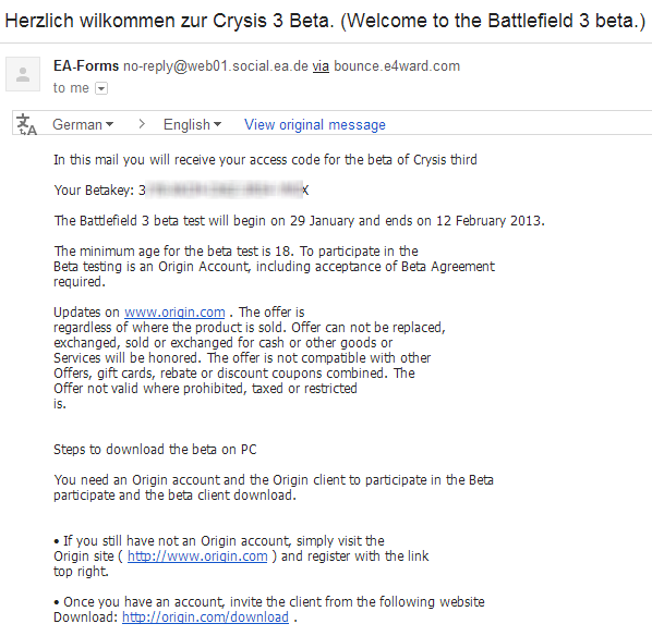 Genuine Crysis 3 Beta Key